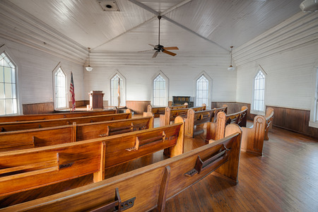 DOTHAN, ALABAMA - JANUARY 17, 2015 : Interior of a historic church in the Dothans Landmark Park. HDR processed.