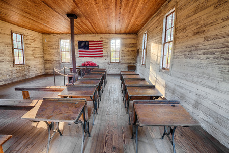 DOTHAN, ALABAMA - JANUARY 17, 2015 :  Interior of the historic one-room School in the Dothans Landmark Park. HDR processed.