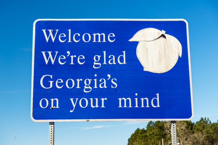 Welcome to Georgia State Sign 스톡 콘텐츠