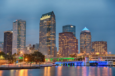 TAMPA, FLORIDA - JANUARY 15, 2015 : The skyline of downtown Tampa at sunset