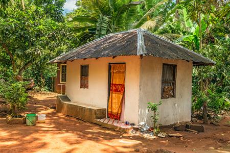 STONE TOWN, ZANZIBAR - OCTOBER 24, 2014: Farmer house in the tropical jungle near Stone town in Zanzibar, Tanzania