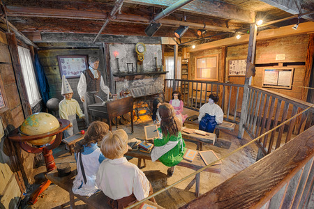 schoolhouse: ST. AUGUSTINE, FLORIDA - JANUARY 18, 2015 : Interior of the Oldest Wooden Schoolhouse in the United States. The construction date is unknown, but it first appeared on tax records in 1716.