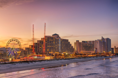 Skyline of Daytona Beach, Florida, at sunset from the fishing pier. Hdr processed. Editorial