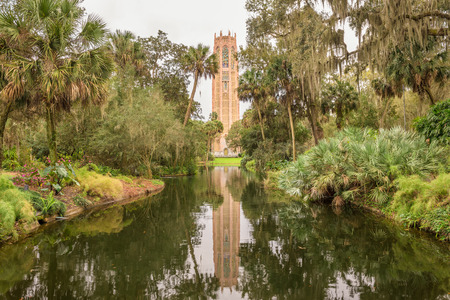 bird sanctuary: The Singing Tower in Bok Tower Gardens near Lake Wales, Florida. Bok Tower Gardens  is a National Historic Landmark  and a bird sanctuary located north of Lake Wales. Stock Photo