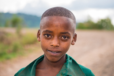 underdeveloped: ADDIS ABBABA, ETHIOPIA - MAY 4, 2015 : Young ethiopian boy