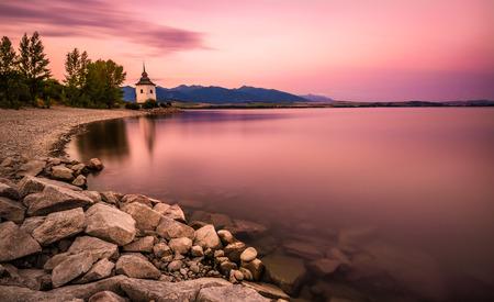 liptov: Sunset over a little church in Liptov, Slovakia. Long exposure shot.