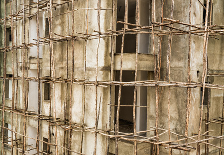 scaffolder: Construction site in Ethiopia with typical african scaffolding