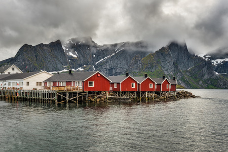 rorbu: Red fishing cabins called Rorbu  in town of Hamnoy on Lofoten islands, Norway