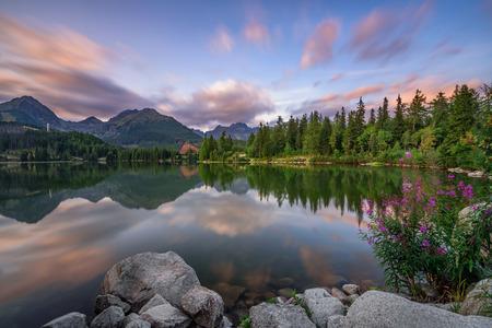 Glacial mountain lake Strbske Pleso in National Park High Tatra, Slovakia. Long exposure.