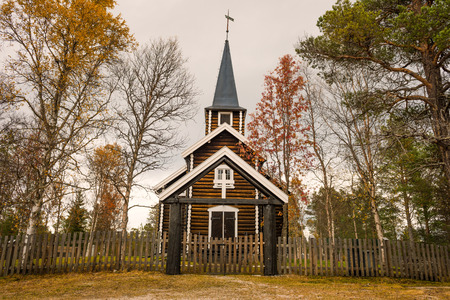 architectural building: Church in Somadal, Hedmark, Norway set in an autumn setting.