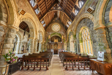 kirk: LOCH AWE, SCOTLAND, UNITED KINGDOM - SEPTEMBER 8, 2015: Interior of St Conan's Kirk located in Loch Awe, Argyll and Bute, Scotland. Hdr processed. Editorial