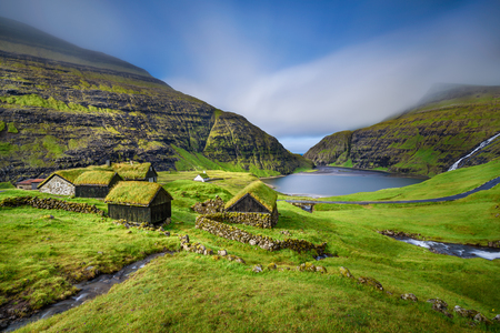 Village of Saksun located on the island of Streymoy, Faroe Islands, Denmark. Long exposure. 免版税图像 - 46906671