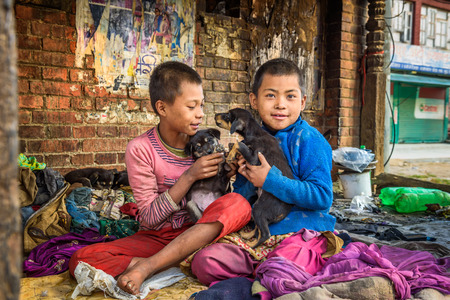 homeless children: KATHMANDU, NEPAL - OCTOBER 22, 2015 : Homeless children playing with puppies in the street of Kathmandu. At least two million Nepalis remained homeless after the major earthquake on 25 April 2015.
