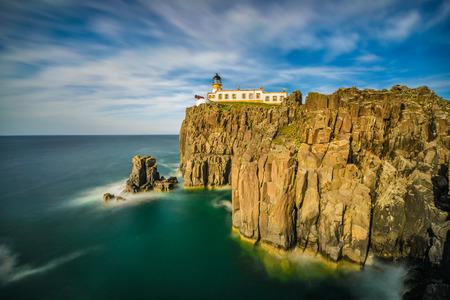Neist Point lighthouse at Isle of Skye, Scottish highlands, United Kingdom. Long exposure