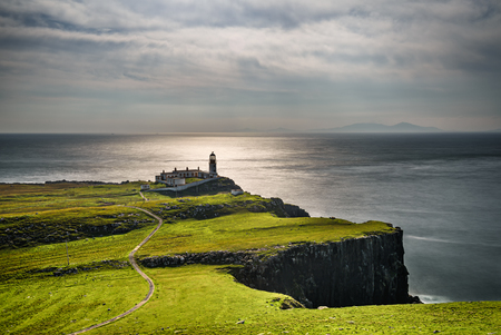 Neist Point lighthouse at Isle of Skye, Scottish highlands, United Kingdom 스톡 콘텐츠