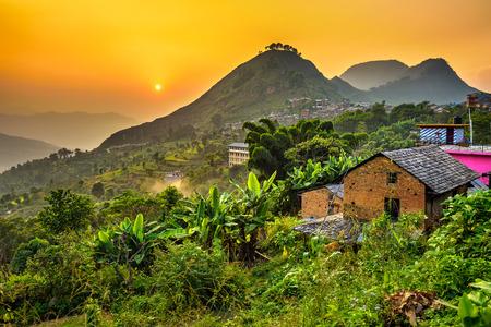 ネパールのバンディプルの上夕日。Hdr 処理します。
