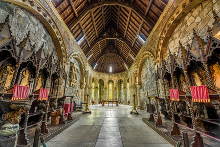 awe: LOCH AWE, SCOTLAND, UNITED KINGDOM - SEPTEMBER 8, 2015: Interior of St Conans Kirk located in Loch Awe, Argyll and Bute, Scotland. Hdr processed.