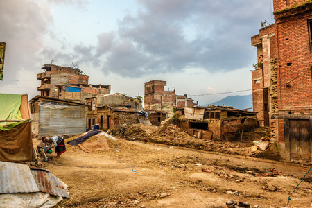 remained: KATHMANDU, NEPAL - OCTOBER 21, 2015 : Earthquake damage in Kathmandu. At least two million Nepalis remained homeless after the major earthquake on 25 April 2015.