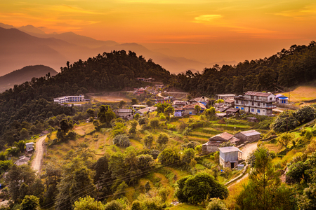 Sunset above village of Dhampus in Nepal 스톡 콘텐츠
