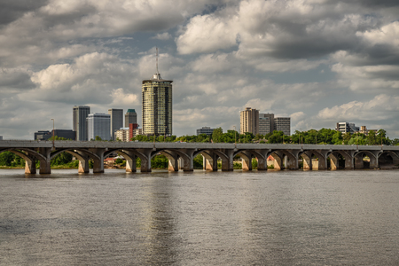Skyline of Tulsa, Oklahoma with Arkansas river in the foreground 写真素材