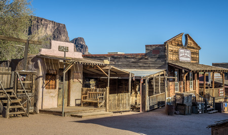 GOLDFIELD, ARIZONA, USA - MAY 17, 2016 : Old jail and bakery in Goldfield Ghost town. Goldfield, later Youngsberg was a gold mining town, now a ghost town in Pinal County, Arizona.
