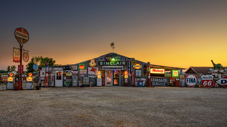 CUBA, MISSOURI, USA - MAY 11, 2016 : Bob's Gasoline Alley on historic Route 66 in Cuba. It is is an outdoor and indoor collection of over 300 service station signs and other vintage advertisements.