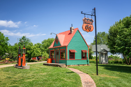 CARTHAGE, MISSOURI, USA - MAY 11, 2016 : Restored vintage Phillips 66 Gas Station located at Red Oak II, a village of relocated and restored buildings and other artifacts near historic Route 66.