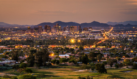 Aerial view of Phoenix Arizona skyline at sunset