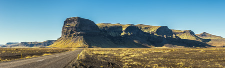 pano: Scenic landscape with the famous ring road in Iceland Stock Photo