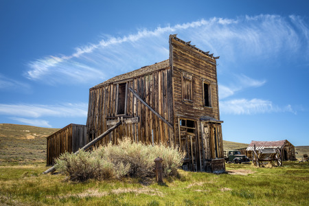 Bodie ghost town in California. Bodie is a historic state park from a gold rush era  in the Bodie Hills east of the Sierra Nevada
