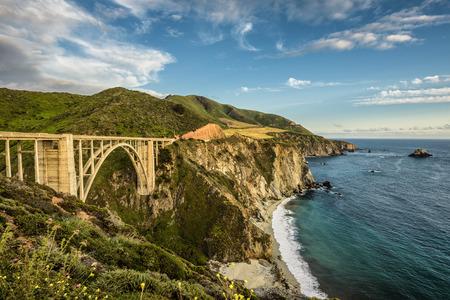 Bixby Bridge (Rocky Creek Bridge) and Pacific Coast Highway  near Big Sur in California, USA Stock Photo