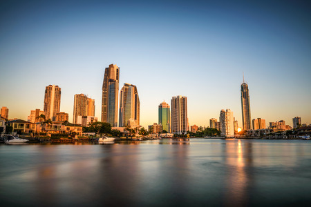surfers paradise: Sunset skyline of Gold Coast downtown in Queensland, Australia. Long exposure.