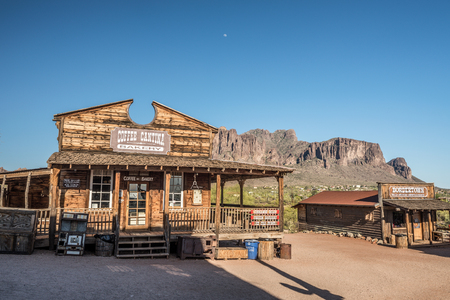 GOLDFIELD, ARIZONA, USA - MAY 17, 2016 : Store and bakery in Goldfield Ghost town. Goldfield, later Youngsberg was a gold mining town, now a ghost town in Pinal County, Arizona.