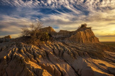 Sunset over the famous Walls of China in Mungo National Park, New South Wales, Australia Stock Photo