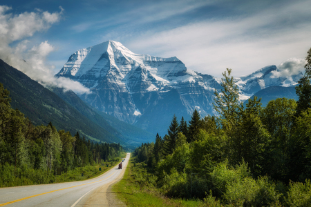Scenic Yellowhead Highway in Mt. Robson Provincial Park with Mount Robson in the background.