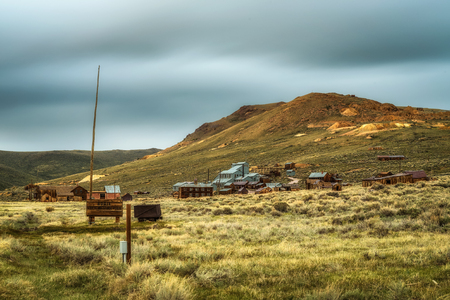 Bodie ghost town in California. Bodie is a historic state park from a gold rush era  in the Bodie Hills east of the Sierra Nevada. Long exposure.