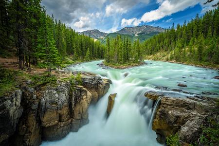 Upper Sunwapta Falls in Jasper National Park, Canada. The water originates from the Athabasca Glacier. Long exposure.