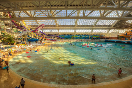 EDMONTON, CANADA - JULY 7, 2017 : World Waterpark in the West Edmonton Mall. Its the largest shopping mall in North America and the tenth largest in the world. Editorial