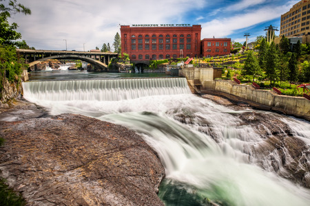 Falls and the Washington Water Power building along the Spokane river