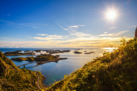View from mount Festvagtind above the village of Henningsvaer, Norway Stock Photo