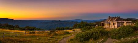 Sunset above Craigs Hut  in the Victorian Alps, Australia