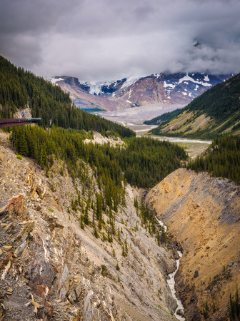 Glacier skywalk above the glacier valley in Jasper National Park