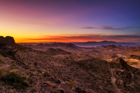 Sunset over the Black Mountains in Arizona Stock Photo