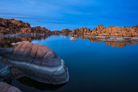 Sunset above Watson Lake in Prescott, Arizona Stock Photo