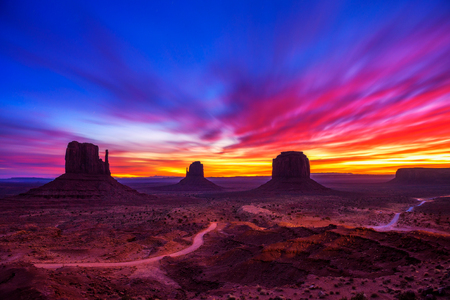 Sunrise over Monument Valley, Arizona, USA Stock Photo