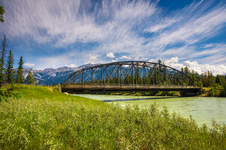 Bridge over the Athabasca River in Jasper National Park, Canada