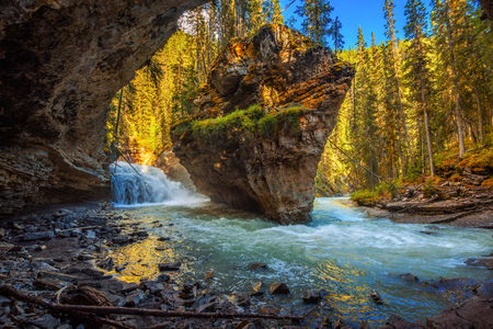 Johnston Creek photographed from a cave. Johnston Creek is a tributary of the Bow River in Banff National Park, Canada Stock Photo