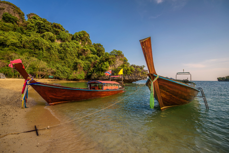 Thai longtail boats parked at the Koh Hong island in Thailand Stock Photo