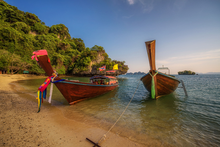 Thai longtail boats parked at the Koh Hong island in Thailand Zdjęcie Seryjne