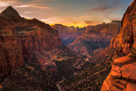 Sunset over Zion National Park, Utah